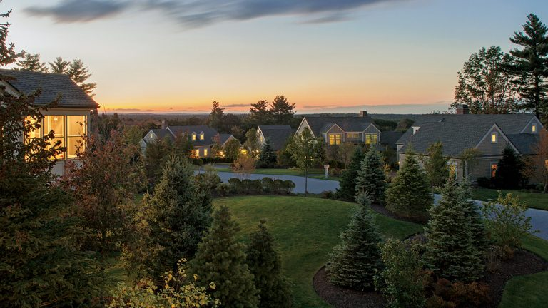 Highland Meadows Weston homes at dusk